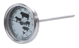 Cooking thermometer with probe and dial