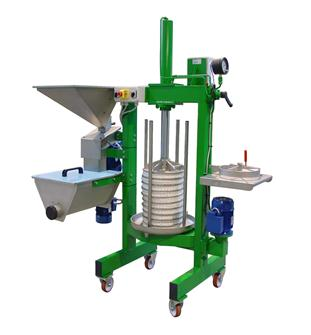 Fully electric press with grinder for extracting olive oil