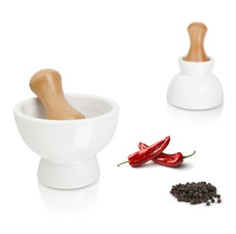 Ceramic mortar and wooden pestle