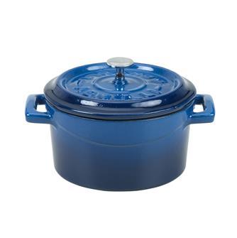 Small casserole dish in cast iron - 14 cm - blue