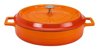 Round low 28 cm orange casserole dish