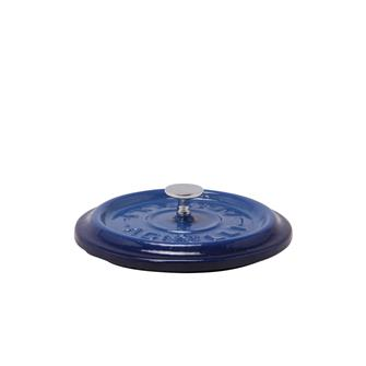 Round blue cast iron lid