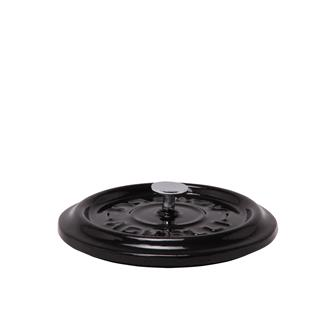 Round shiny black cast iron lid