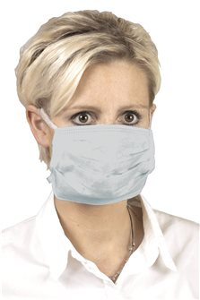 Set of 5 blue disposable surgical masks