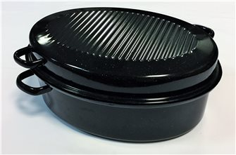 Roaster small oval casserole model 34 cm enamelled carbon steel