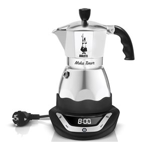electric italian coffee maker with a timer 3 cups