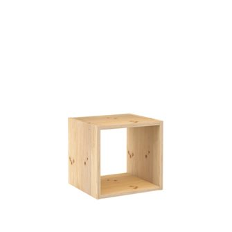 Modular shelving of 1 cube of solid pine wood and unglazed finish