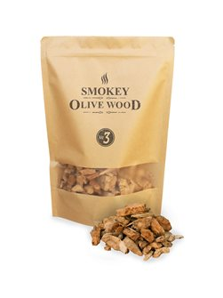 Pack of big olive chips for barbecue