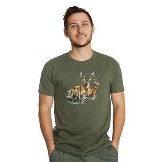T-shirt Bartavel Nature khaki silk screen 1 wild boar 1 deer and 1 deer L