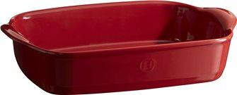Rectangular oven dish small model 30 cm ceramic Emile Henry Ultimate red Grand Cru