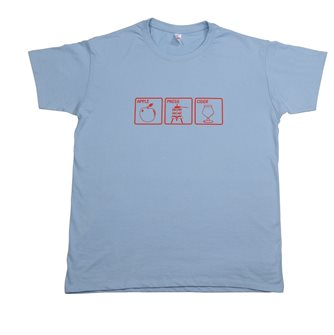 Apple Press Cider Tom Press XL T-shirt light blue red screen print