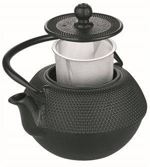 Black cast iron teapot 720ml induction compatible stainless steel filter