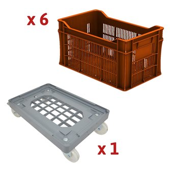 Set of 30 liter boxes with corrugated bottom without handles and multi-tray trolley