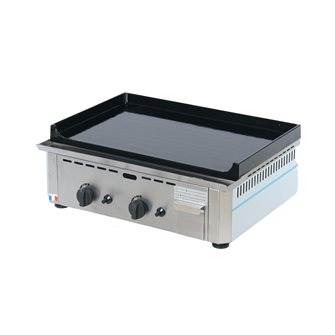 Professional enamelled cast iron 20 mm 60x40 cm gas plancha 6 400 W stainless steel frame made in France