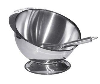 Hemispherical mixing bowl with whisk